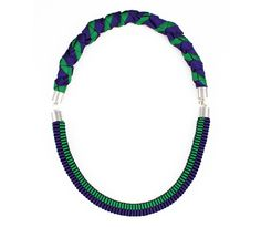 The Severine woven rope necklace in purple and green. £95.00, via Etsy.