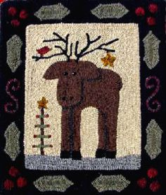 Use this simple moose shape as a pattern for a felt tree ornament. With twigs for antlers. The Red Saltbox Christmas Moose Rug Hooking Pattern