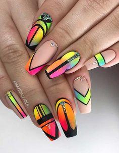 45 cute & stylish summer nails for 2019 acrylic nails идеи д Pink Summer Nails, Cute Pink Nails, Neon Nails, Pretty Nails, My Nails, Hair And Nails, Fall Nails, Nagellack Design, Tribal Nails