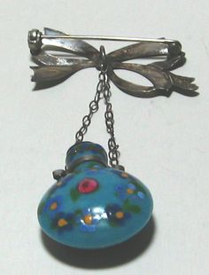 Antique Venetian Miniature Perfume Bottle with Stopper and Sterling Bow Pin | eBay