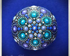 Blue stone mandala, dot art, painted stone, painted rock, dot mandala