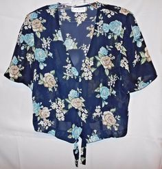 Miss Dorby Navy Floral Thin Polyester Top V Neck Covered Buttons Size L Tie Bk #MissDorby #ButtonDownShirt #Career
