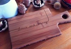 Personalized Serving Board, Custom Engraved Paddle Cutting Board, Bamboo Carved…