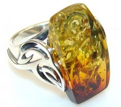 Lovely Polish Amber Sterling Silver Ring s. 6 3/4