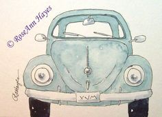 Blue VW Beetle Bug Print of Watercolor Painting ACEO