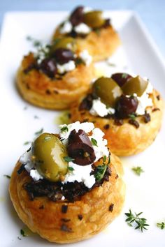 Savory puff pastry tarts made with our seasoned Olives Jubilee, creamy goat cheese and sautéed mushrooms with fresh herbs make a great holiday appetizer. Cheese Pastry, Savory Pastry, Savory Tart, Puff Pastry Recipes, Goat Cheese, Choux Pastry, Puff Pastries, French Pastries, Antipasto Recipes