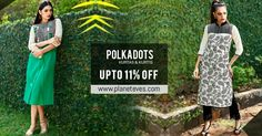 Get Upto 11% Discount on #Polkadots #Designer #Kurti Online at Planeteves.com. Get Free Shipping & COD Available. Hurry Up!!
