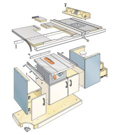 Table Saw Workcenter Woodworking Plan converts a  contractor's saw into a cabinet saw! Huge worksurface makes crosscutting and ripping workpieces a breeze. This woodworking plan appeared in ShopNotes magazine No. 89.