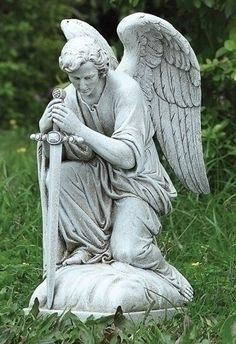 "Male Kneeling Angel Statue - 13 1/4""H - Stone"