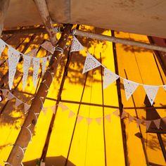 Boho wedding bunting, perfect teepee or marquee camping decoration Lace Bunting, Wedding Bunting, Tipi Wedding, Camp Wedding, Wedding Venues, Marquee Wedding, Alternative Wedding Venue, Glamping Weddings, Luxury Glamping