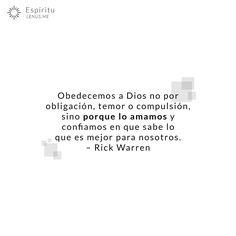 Nuestra fuente de obediencia. | #fe #creer #Dios #espiritu #amor #confiar #confianza #esperanza #rickwarren #obligacion #determinacion #Jesus #Cristo
