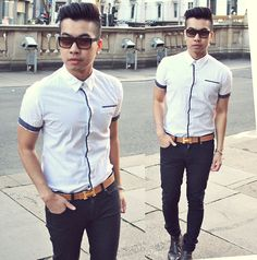 Shirt....black and white.....oh well u can never go wrong.