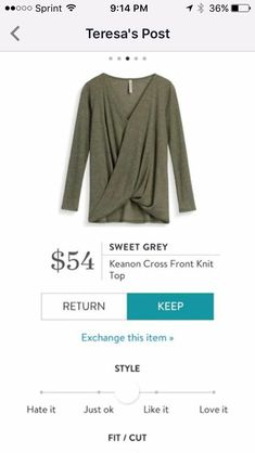 Stitch Fix Item: Sweet Grey Keanon Cross Front Knit Top #stitchfix