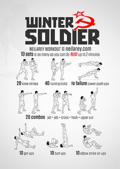 Winter Soldier Workout <<< never would do this workout but hey... To all the future guys that wanna date me, here's your workout plan from now on.