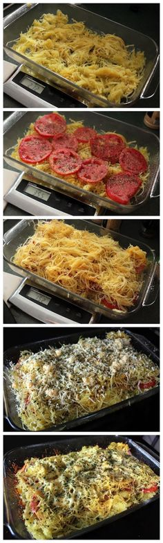 About 3 cups cooked spaghetti squash (1 medium one) 2 large garden tomatoes sliced Kosher Salt Garlic Powder, Onion Powder, Dried Basil, Dried Parsley for sprinkling 5oz of fancy shredded Mexican cheese blend (separated) Fresh Basil for Garnish (optional)