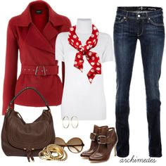 """Already have the red jacket and white T and a pair of skinny jeans... half way there!!    """"Red Cashmere Jacket"""" by archimedes16 on Polyvore"""