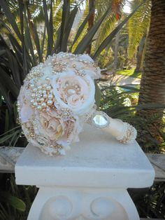rose gold brooch bride bouquet via etsy - so pretty for a vintage style wedding :)