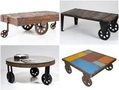 Mesas vintage con ruedas de carro