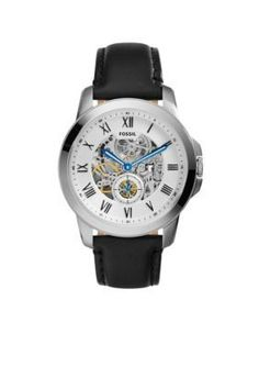 Fossil  Mens Black Leather Grant Mechanical Automatic Watch