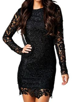 Smokin' Hot Lace Bodycon - Long Sleeves Black Dress