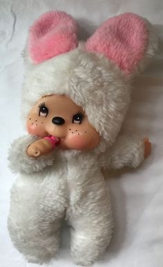 Vintage Monchichi White Bunny with Pink Ears and Red Eyes HTF
