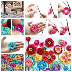 DIY & Crafts: Fabulous Crochet Button Flowers – Bright, Beautiful and Easy to Make – SkillOfKing. Crochet Wall Art, Crochet Wall Hangings, Form Crochet, Crochet Flower Patterns, Cute Crochet, Crochet Flowers, Knitting Patterns, Easy Crochet Projects, Crochet Crafts