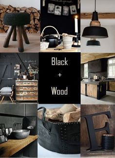 I already have several black + wood elements around my home, so I'm planning on elaborating on that. Scandinavian Modern, Küchen Design, House Design, Skandinavisch Modern, Modern Rustic, Sweet Home, Industrial Interiors, Industrial Farmhouse, Modern Industrial Decor