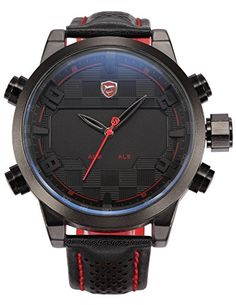 Shark SH203US2 Mens Black Red Stainless Steel Case Dual Movement Leather Strap LED Watch >>> Be sure to check out this awesome product.Note:It is affiliate link to Amazon.