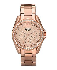 Fossil Watch, Women's Riley Rose Gold Plated Stainless Steel Bracelet 36mm ES2811  $135. - great watch!!