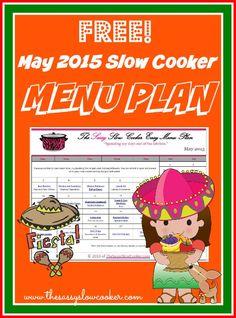 Free May 2015 Slow cooker menu plan