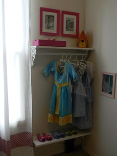 Dress-Up area for future hopefully or just a neat idea for a kid room Albamonte Albamonte Orlando Collins - maxi fall dresses, affordable dresses, mother of the groom dresses *ad Dress Up Area, Dress Up Corner, Dress Up Storage, Ideas Dormitorios, Kids Room Organization, Playroom Ideas, Organizing Kids Rooms, Playroom Decor, Nursery Ideas