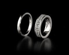 Saarikorpi Design, 18K white gold wedding rings, W/VS diamonds