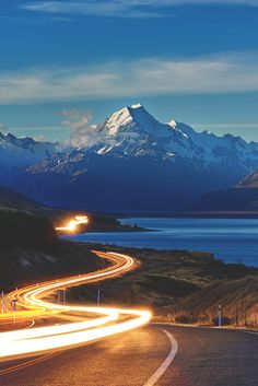 Road to Aoraki / Mount Cook, New Zealand. Landscape Photos, Landscape Photography, Long Way Home, Winding Road, Great View, Amazing Nature, Wonders Of The World, Natural, Amazing Photography