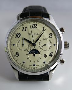 Sea-Gull multi-functional automatic mechanical watch- is the most complicated multifunctional watch running on at the present time. Watch Room, Gull, Mechanical Watch, Automatic Watch, Vintage Watches, Cool Watches, Omega Watch, Leather, Accessories