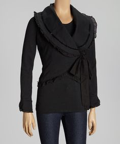 Look what I found on #zulily! Black Autumn Wrap Top by Knitted Dove #zulilyfinds  Love this!!!  $39.99 from 75.00