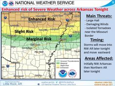 says For The Little Rock Metro & Central Arkansas Thru Friday: Scattered Showers & Thunderstorms Late Tonight North Of !-40 With A Few Widely Scattered Storms Closer To Little Rock. 1-2 Strong To Severe North Of !-40. Lo 65. Friday: Scattered Showers & Thunderstorms.. 1 Or 2 Strong With Hail..Wind & Heavy Rain. Hi 72. Friday Night Thru Saturday Night: Partly Cloudy. Lo Friday Night 42. Hi Saturday 63 & Lo 43. Easter Sunday: Scattered Showers & Thunderstorms. Hi 62. -www.weather4ar.org…