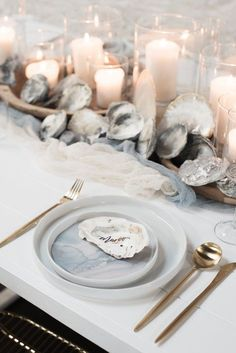 We love the soft tones of grey, blue, and white. Plus it gives us the chance to gorge on oysters beforehand 😉 Best Picture For Beach Wedding destination For Your Read Nautical Wedding Dresses, Nautical Wedding Centerpieces, Beach Wedding Tables, Nautical Wedding Theme, Beach Wedding Decorations, Coastal Wedding Ideas, Bohemian Beach Wedding, Romantic Beach Weddings, Nautical Wedding Inspiration