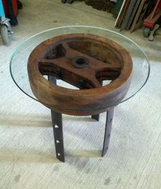 Industrial Antique Wooden Pulley End Table, Glass Top