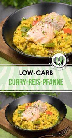 Die low-carb Curry-Reis-Pfanne mit Lachs ist super lecker, und glutenfrei, aber auch Paleo.