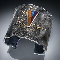 Cuff by Ellen Stewart - Sterling silver, boulder opal, fused 24k gold,