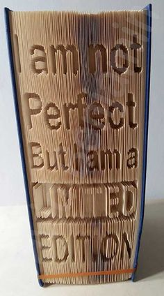me ~ Pin on Craft ideas ~ Create your own piece of stunning Book Art with this I Am Not Perfect Cut and Fold Book Folding Pattern. Up Book, Book Pages, Book Crafts, Paper Crafts, Diy Crafts, Arte Linear, Cut And Fold Books, Book Sculpture, Paper Sculptures