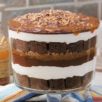 Caramel Chocolate Trifle- This recipe is so simple to make. all it takes is a cake mix, some instant pudding, a little frozen whipped topping and some caramel sauce. Sprinkle the top with some toffee bits and you have a beautiful trifle bowl full of delicious heaven! Yum, it's an easy potluck dessert or something all of your family can dig into!