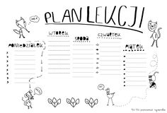 kolorowanki, ilustracje, plakaty, obrazki, DIY, dla dzieci, Olga Inglot, colourings, ilustrations, posters, pictures, for children The Plan, How To Plan, School Timetable, Amazing Pics, Illustrations Posters, Lesson Plans, Free Printables, Back To School, Bullet Journal