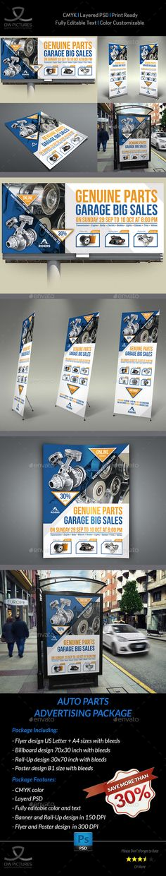 Auto Parts Billboard Advertising Design Template Bundle - Signage Ads Banner Design Print Templates PSD. Download here: https://graphicriver.net/item/auto-parts-advertising-bundle/19248564?ref=yinkira