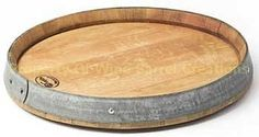 Wine Barrel Head Lazy Susan With Band Solid by winebarrelcreation
