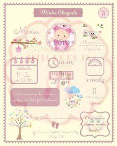 quadro minha chegada - bebê - menina - rosa - lilás - recém-nascido - corujas - corujinhas - newborn - R$ 19,90  Contato: ateliedatitiacoruja@gmail.com