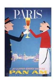 Aaron Fine - Original Vintage Pan American World Airways Travel Poster - Pan Am Paris France - - Paris Poster, Poster Ads, Advertising Poster, Art Posters, Travel Ads, Paris Travel, Vintage Advertisements, Vintage Ads, Vintage Airline