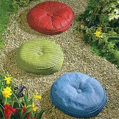 Tuffits.... Concrete stepping stones that look like vintage pillows.  Very cool!