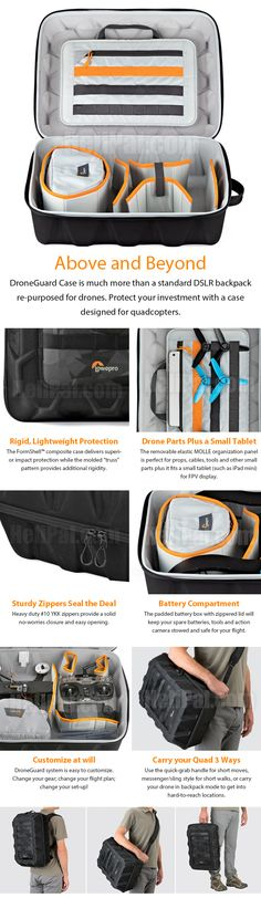 Lowepro DroneGuard CS 300 http://www.helipal.com/lowepro-droneguard-cs-300.html Exterior Dimensions (W x D x H) 14.0 x 6.9 x 18.2 in. / 35.6 x 17.6 x 46.3 cm Interior Dimensions (WxDxH) 13.8 x 6.0 x 17.4 in. / 35 x 15.2 x 44.3 cm Total Weight 3.3 lbs. / 1.5 kg Storm Racing Drone, Parrot Bebop or similar drone, quadcopter or flying camera form factor