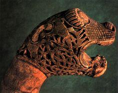 Animal head post from the Oseberg Viking ship burial